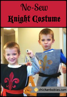 Cute and Easy No-Sew Knight costume is great for Halloween or dress up fun!