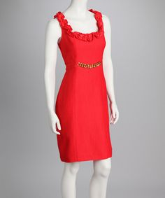 Take a look at this Burnt Coral Chain Detail Sleeveless Dress on zulily today!