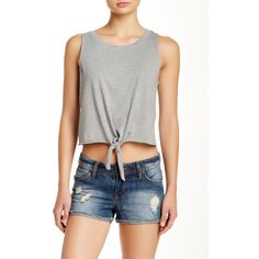 Vero Moda Tie Front Crop Tank (450 PHP) ❤ liked on Polyvore