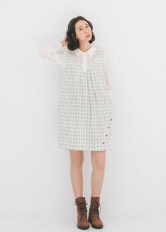 許許兒♪棉柔格紋木扣背心洋裝-綠 Woolen Jumper skirt