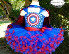 Captain America Inspired Tutu Dress - Marvel - Superhero Princess - CUSTOMIAZABLE - Newborn to Size 9