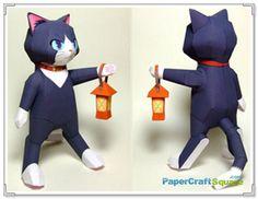 anime papercraft   Lantern Cat Papercraft (Anime Style)   PaperCraftSquare.com