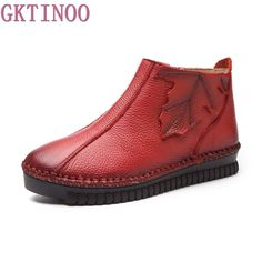 MAYLOSA 2017 women Vintage Style Genuine Leather Ankle Boots Handmade lace-up Female Warm Winter Shoes Flat Booties size Boots Boho, Casual Boots, Women's Boots, Ankle Shoes, Leather Ankle Boots, Flat Shoes, Cheap Snow Boots, Mode Vintage, Vintage Style