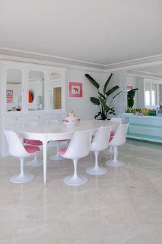 pink, white, turquoise modern dining