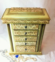 Large Jewelry Box, Gold Damask Jewelry Armoire, Tall Jewelry Box Armoire, Vintage Jewelry Storage Cabinet, Renaissance Women's Jewelry Box $125.00 by Reimaginations on Etsy