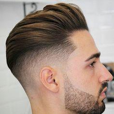Brushed Back Hair + Fade + Beard