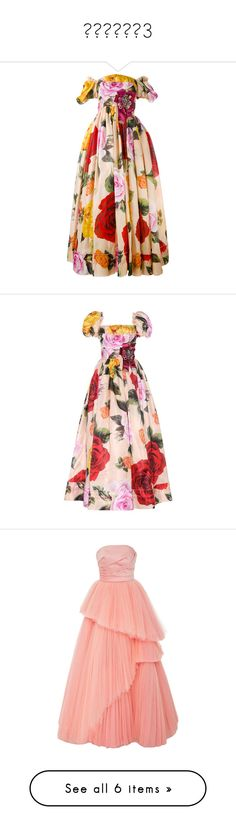 """""""наряды3"""" by www-gufi ❤ liked on Polyvore featuring dresses, gowns, red, floral gown, off the shoulder floral dress, pink evening dress, pink off the shoulder dress, off shoulder floral dress, multicoloured and pink ball gown"""