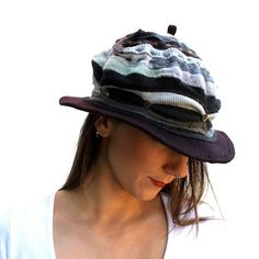 Grey and Brown Recycled Wool Knit Hat Eco Friendly Size M Adult on Etsy, $58.00