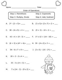 Order of Operations Worksheet : Valentine's Day Theme Pemdas Worksheets, Integers Worksheet, Math Practice Worksheets, Teacher Worksheets, Printable Worksheets, Division Worksheet, Printable Coloring, Christmas Math Worksheets, Letter Worksheets For Preschool