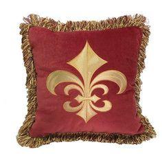 HiEnd Accents Embroidered Flor-De-Lis Pillow - FB3838P4