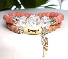 Strength Bracelet Inspiration Bracelet Angel by BlueStoneRiver Jewelry Art, Beaded Jewelry, Beaded Bracelets, Stretch Bracelets, Angel Wing Bracelet, Diy Jewelry Inspiration, Jewelry Ideas, Spiritual Jewelry, Arm Candies