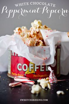 White Chocolate Peppermint Popcorn- this is a delicious winter treat we look forward to every year!