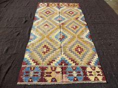 "Turkish Kilim Rug,4,6""x9"" Feet 137x274 Cm Handwoven Pastel Color Turkish Kilim Rug,Anatolian Area Kelim Rug."