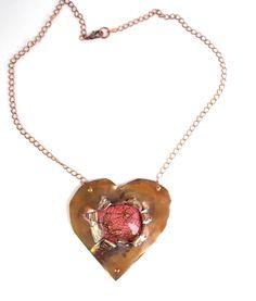 Arachne Athena Necklace Copper Heart Metalwork by LilisGems, $55.00