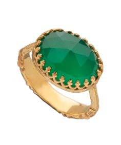 Gold Green Calcite Ring