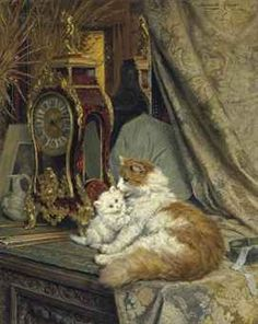 Un gato de la madre y su gatito con un soporte de reloj Henriette Ronner-Knip Óleo sobre lienzo Colección privada