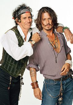 Keith Richards and Johnny Depp -- something about the way Johnny holds that left hand...