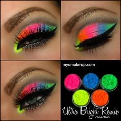 5 MYO Ultra Bright Remix Shimmer Set Eyeshadow Pigment Mica Cosmetic Loose Powder Mineral Makeup - Summer Make-Up Neon Eyeshadow, Pigment Eyeshadow, Eyeshadow Makeup, Eyeshadow Palette, Younique Eyeshadow, Easy Eyeshadow, Eyeshadow Designs, Pink Eyeliner, Brown Eyeliner