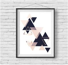 Wall Art Print, Digital Poster, Navy Blush Art, Copper Decor, Scandinavian Art…