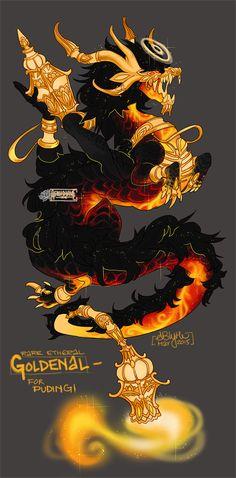ETH Goldenal- Oriental Flare by AriiKnave dragon Magical Creatures, Fantasy Creatures, Dragon's Lair, Tatoo Art, Fantasy Monster, Vampire, Dragon Art, Creature Design, Character Design Inspiration