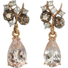 Federica Rettore Pink Morganite & Diamond Drop Earrings (6.845 BRL) ❤ liked on Polyvore featuring jewelry, earrings, accessories, jewels, brincos, pink drop earrings, diamond jewelry, diamond jewellery, pink earrings and pink diamond jewelry