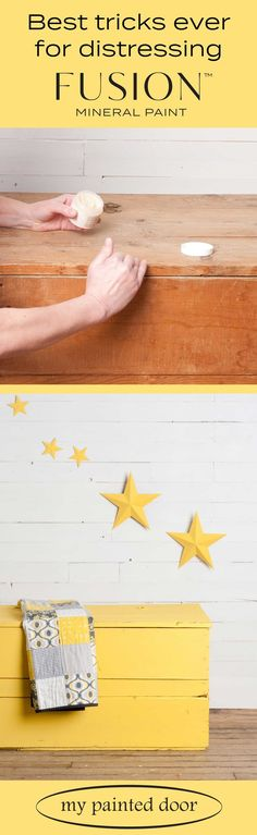 Wood box and metal stars painted with Fusion Mineral Paint in the colour Little Star. Check out my b Furniture Wax, Painted Furniture, Distressed Furniture, Furniture Ideas, Painted Dressers, Furniture Refinishing, Refurbished Furniture, Furniture Makeover, Painting Tips