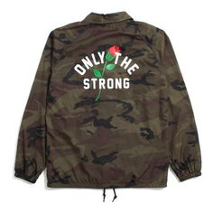 Motivation Only The Strong Coach's Jacket Camo (1,475 MXN) ❤ liked on Polyvore featuring outerwear, jackets, camo jacket, camo print jacket, camouflage jacket, embroidered jacket and brown jacket