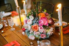 Gorgeous textural and colorful wedding centerpieces. Floral.