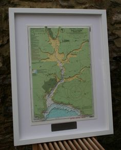 Hand cut 3D nautical chart of Salcombe, Devon.  Made to order