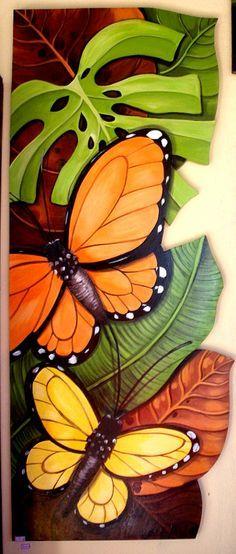 Painting Wood Acrylic 30 New Ideas Wal Art, Creation Art, Tropical Art, Butterfly Art, Butterflies, Fabric Painting, African Art, Watercolor Art, Art Drawings