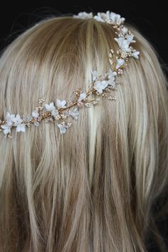 Bespoke for Pauline_gold floral wedding halo in ivory blush 6