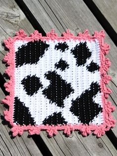 Cow Dishcloth | Yarn | Free Knitting Patterns | Crochet Patterns | Yarnspirations