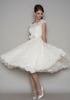 86-Florrie - Corded lace tea length wedding dress with a cap sleeve