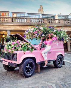 Get in loser were going shopping! Just in case anyone doesnt know this is a quote from Mean Girls an Flower Truck, Flower Car, Mean Girls, Covent Garden, Wedding Background, Everything Pink, Flower Fashion, Pink Aesthetic, Go Shopping