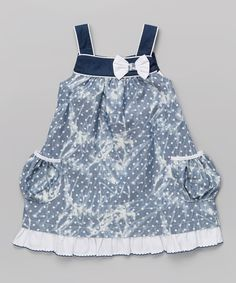 Look at this La Fleur & Le Papillon Blue & White Pocket A-Line Dress - Infant, Toddler & Girls on #zulily today!