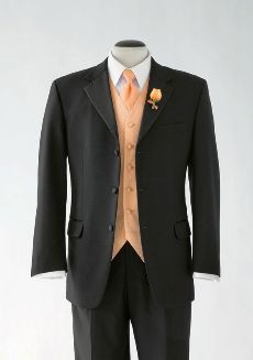 "This nice 3 button designed tuxedo will suit perfectly for my groom(""my Odie"")...added with a purple and/or green vest and tie."