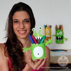 DIY Tutorial - Monster Shampoo Bottles - One Madame Criativa's most Popular Projects translated to english -  Como fazer porta lápis criativo para crianças - Monstro de pote de shampoo - Dicas e passo a passo com fotos