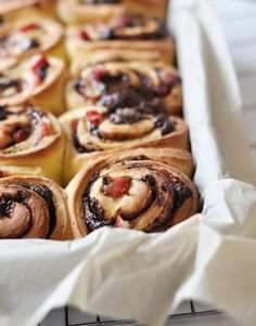 Dear strawberry chocolate rolls with sour cream glaze via foodess: You had me at hello.