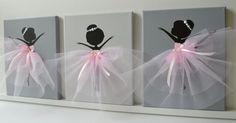 Tanzende Ballerinas Wand-Dekor. Kinderzimmer-Wand-Kunst in