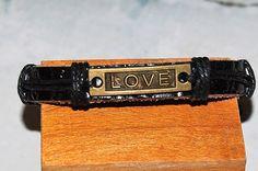 bracelet homme / femme réglable cuir et médaille de bronze, love, medaillon, amour, tendance