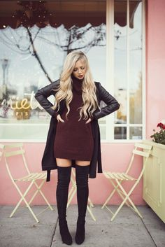 over the knee boots and dress
