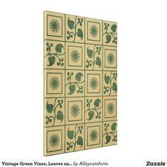 Vintage Green Vines, Leaves and Star Blocks Design Canvas Print