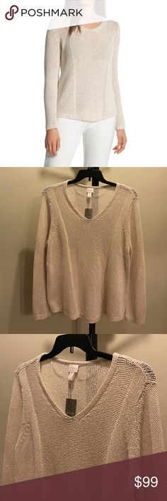 """NWT Neutral sequin shine pullover sweater 58% cotton. 29% polyester. 13% viscose. CHICO'S SIZE - Regular Size 3 (16/18, XLarge). Length:~25""""-29"""". Slightly open weave. vhtrtwkj Chico's Sweaters V-Necks"""