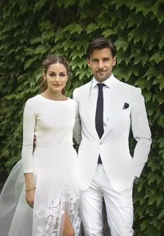 Couple Outfit olivia palermo Olivia Palermo is Married! See Her Stunning Carolina Herrera Wedding Dress Wedding Dresses With Flowers, Wedding Gowns With Sleeves, Long Sleeve Wedding, Flower Dresses, Dress Wedding, Olivia Palermo Wedding, Girls Dresses Uk, White Tuxedo Wedding, Carolina Herrera Bridal