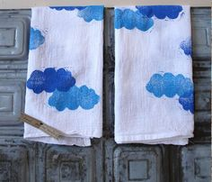 Items similar to Clouds - Hand Printed Kitchen Towel Set of 2 - Dream - Flour Sack - Spring - Nature on Etsy Dish Towels, Tea Towels, Arts And Crafts, Diy Crafts, Home Decor Inspiration, Decor Ideas, Kitchen Towels, Household Items, Fabric Crafts