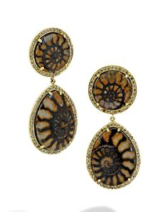 Mish New York Double Ammonite Earrings with brown diamond pavé set in 18k yellow gold | mishnewyork.com #mishnewyork #mishjewelry