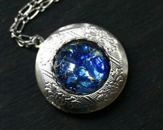 Blue Opal Locket by robinhoodcouture on Etsy