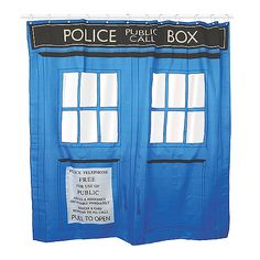 Doctor Who Shower Curtain. Pretty sure I need this!
