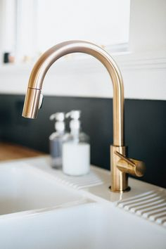 Our DIY Kitchen Remodel – Natural. THE BRAUNS – Columbus, Dayton, Cincinnati Wedding Photographers – sinkfaucet Gold Kitchen Faucet, Gold Faucet, Kitchen Fixtures, Diy Kitchen Remodel, Kitchen Redo, Kitchen Design, Remodel Bathroom, Delta Trinsic Faucet, Utility Room Designs
