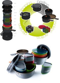 """Pinnacle set, an """"integrated cooking and eating solution,"""" packs an absurd amount of dining items into a compact space"""